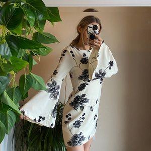 Floral cream and black mini dress